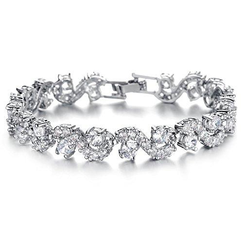 [해외]서식 정점] Richapex 테니스 팔찌 AAA 크리스탈 화이트 골드 여성 큐빅 패션 팔찌 필 드 보석 팔찌/[Rich apex] Richapex tennis bracelet AAA crystal white gold ladies cubic zirconia fashion bracelet filled jewelry bangle