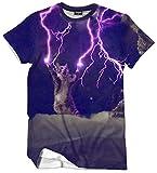 (ワトリズ)Whatlees メンズ Tシャツ 丸首半袖 猫柄 稲妻柄 3Dプリント B056-12-L
