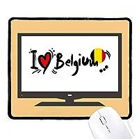 私はベルギー語フラグラブ・ハートのイラストが好きです マウスパッド・ノンスリップゴムパッドのゲーム事務所