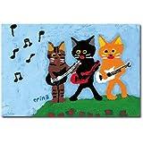 猫の足あと ポストカード 「楽しい音楽会」