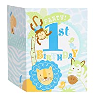 Blue Safari First Birthday Invitations, 8ct