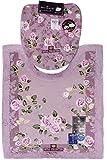 オカ トイレ 2点 セット ロイヤルコレクション グラバード ロングトイレマット + フタカバー ピンク 洗浄暖房型 日本製