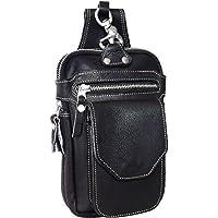 ヒップバッグ メンズ 本革 ベルトポーチ ウエストバッグ ダブルポケット H005 ブラック