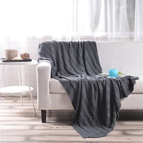 VIOMO ブランケット ひざ掛け 毛布 ニット  暖かい 柔らかい 昼寝に対応 冷房対策春・夏・秋用 ベッド ソファー用 ベッドランナー ベッドスロー オフィス用 丸洗い可 120 x 180 cm