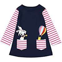 Seyouag Toddler Girl Clothes Cotton Long Sleeve Flower Girls Dresses for Kids 2-8 Years 5-6T Blue