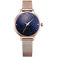 SK Fashion Women's Rose Gold Casual Simple Analog Quartz Creative Starlight Waterproof Wrist Watch With Stainless Steel Mesh Band