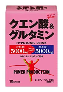 グリコ パワープロダクション クエン酸&グルタミン ハイポトニック粉末ドリンク ピンクグレープフルーツ風味 1袋 (12.4g) 10袋