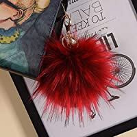 Fluffy Keychain Ball Multifunction Big Fluffy Ball Keychain Faux Raccoon Fur Key Chain Keyring Pompoms For Women Winter Hat Costume Accessories Style 7