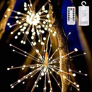 LEDライト イルミネーションライト 電池 電池式 花火 リモコン ベッドサイドランプ 120電球 室内 室外 結婚式 パーティー クリスマス お庭 飾り (電池式 花火)