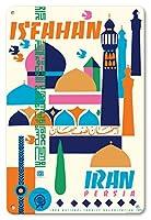 22cm x 30cmヴィンテージハワイアンティンサイン - エスファハーン、イラン - ペルシア - ビンテージな世界旅行のポスター によって作成された ヒューシャン・カゼミ c.1967