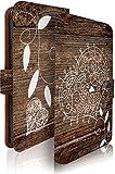 AQUOS SERIE mini SHV33 ケース 手帳型 ウッド ハート ブラウン 花 フラワー アクオス セリエ ミニ スマホケース 携帯ケース 花柄 木目 [ウッド ハート ブラウン/t0428]