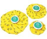 HomeTop 3枚入ヘルスケア 超防水 繰り返し使用 梟図案黄色いアイスバッグ(違うサイズ、違う部位使用OK)