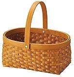 丸和貿易 かご 木製 ウィッカーバスケット オブロング L 400696102
