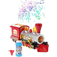 Chone Electric Bubble Blowingトイライトと音楽付き、列車形状Battery Powered機関車エンジンBubble Blowingマシンwith 5オンスバブルソリューションand Funnel、3 x AA電池(含まれない)