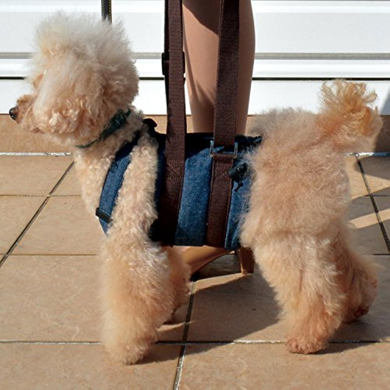 ステートメントコール煙突RURU PET 国内正規品 犬用介護ハーネス ウオークわんデニム 足腰が弱くなってきたワンちゃの歩行補助 トイレの補助に (S-ロング)