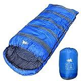 丸洗いOK White Seek BIGサイズ 寝袋 シュラフ 封筒型【最低使用温度7℃ 1300】 (ブルー)