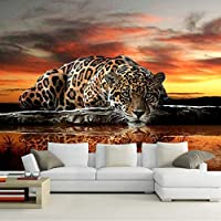 Ljjlm カスタムサイズ現代ヒョウ写真壁画壁紙用リビングルーム寝室テーマホテルソファ背景壁家の装飾壁紙-160X120CM