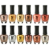 SXC Cosmetics Nail Polish Set - 12 Gold Metallic Shades, 15ml/0.5oz Full Size, Perfect Nail Lacquer Gift Set Regular Use & Nail Art Design