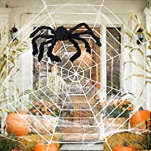 ESSENSON Halloween Decorations - 12 FT Giant Round Spider Web and Fake Large Hairy Spider Props Scary Halloween Yard Door & Outdoor Decor with Super Stretch Cobweb Halloween Decorations Party Favors