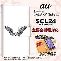 手帳型 ケース SCL24 スマホ カバー GALAXY Note Edge ギャラクシー 翼(ハート) 黒×クリア nk-004s-scl24-dr466