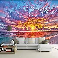 LJJLM 日没の火の雲の美しいテレビの背景の壁のカスタム大壁画緑のシルクの壁紙-420X280cm