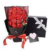 ソープフラワー AlfaView 花束 ギフト バラ ユリ 枯れない花 お祝い 結婚祝い プロポーズ プレゼント 結婚記念日 バレンタインデー 誕生日祝い 母の日 敬老の日 カード(18本) (赤) SF01-RDZ