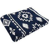 タオルケット 綿100% ジャガード織 エスニック ネイティブ (シングルワイドロング 150×210cm, ネイビー)