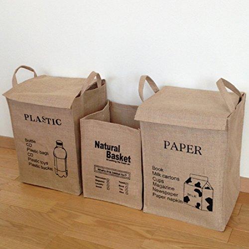 MAMiO ゴミ の 分別 リサイクル紙袋 収納 おしゃれ麻ふた付き ごみ箱 3点セット (資源物)