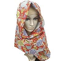 ヒジャブ 着物 和柄 ちりめん hijab Japan muslim (ダリア レッド)