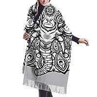 象のマンダラの女性のショールラップ冬暖かいスカーフ岬大きなスカーフ特大スカーフ77×27インチ