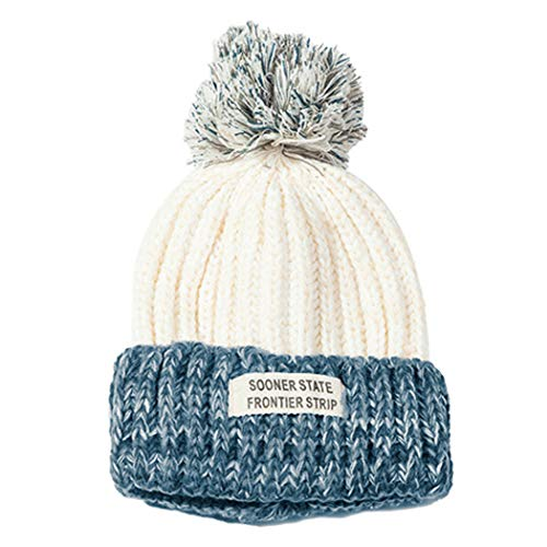 Teddy ニット帽 レディース 秋冬 ポンポン あったか 防寒帽子 hat060 (ホワイト, M)