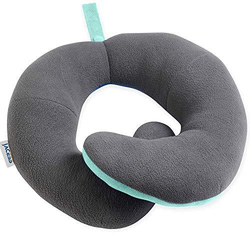 Cosomi 旅行用枕 車や飛行機でもっとも快適な睡眠が取れる トラベルピロー ネックピロー U型まくら 首枕 飛行機 携帯枕 旅行用品 唯一の頭、首、下顎全般サポートまくら 持ち運び便利 どこでも最大限で快適さをお楽しめる 特許製品 大人サイズ 男女兼用(グリーン/グレー)