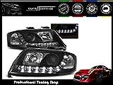NEW HEADLIGHTS PROJECTOR SET LPAU46 AUDI A6 2001 2002 2003 2004 DAYLIGHT BLACK RHT