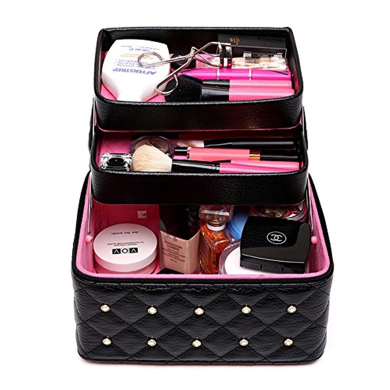 周波数ラメ飼い慣らすFYX メイクボックス コスメボックス 大容量 化粧品収納ボックス 収納ケース 小物入れ 大容量 取っ手付 (ブラック)