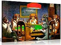 犬のポーカーカードCMクーリッジキャンバスウォールアート写真プリント(30x20in)