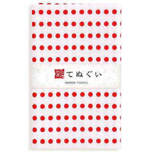 彩(irodori) 豆絞り 手ぬぐい 赤 ほつれ防止あり 33×88cm