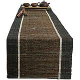 リネンテーブルランナーブラウンストライプ、ファミリーディナー、ギャザリング、パーティー、毎日の使用(6サイズあり)のテーブルトップテーブルランナー (色 : ブラウン ぶらうん, サイズ さいず : 45×220cm)