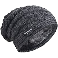 VECRY Mens Beanie Hat Fleece Lined Knit Hat Thick Skull Cap