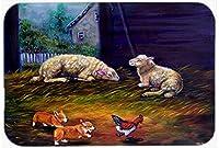 Caroline 's Treasures 7322jcmt Corgi Chaos in the Barn With Sheepキッチンやバスマット、24by 36インチ、マルチカラー