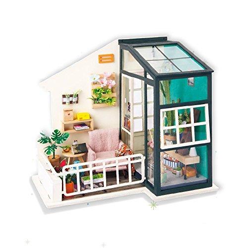 Robotime ドールハウス ミニチュア 木製 DIY 工作キット トレーラーハウス ガーデンのドア キャンプ 子供 プレゼント (Balcony Daydreaming)
