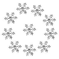 【ノーブランド 品】クラフト ヘアクリップ 装飾 スクラップブッキング用 10個 14mm 結晶 雪の結晶 ボタン DIY