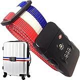 【TRAVELGATE(トラベル ゲート)】 TSAロックベルト ~ 日本語説明書付属 ~ TSA ロック TSAベルト スーツケース トランク ベルト 【 3桁 ダイヤル式 カギ 鍵 海外 海外旅行 出張 用】 (トリコ ロール(赤、白、青))