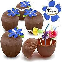 プラスチックヤシの実カップ付きfor Funハワイアンルアウ子供のパーティ–Bulk 12パック–Comes With Straw And Flower–Tiki andビーチテーマパーティー用品( 1ダース)