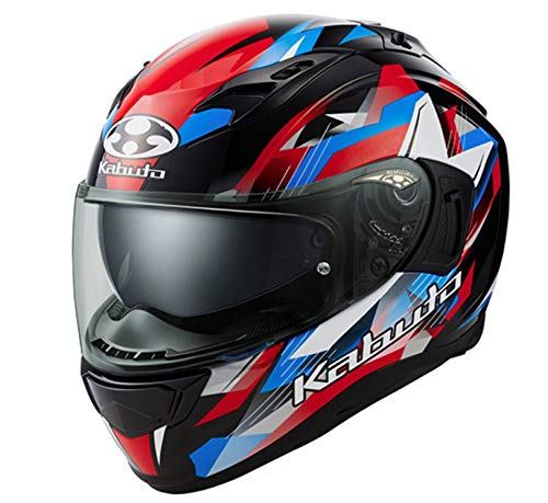 オージーケーカブト(OGK KABUTO)バイクヘルメット フルフェイス KAMUI3 STARS(スターズ) ブラックブルーレッド (サイズ:L) 587284