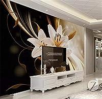 Bzbhart 壁紙北欧3D三次元高級黄金の花リビングルームベッドルーム背景壁装飾壁画壁紙-400cmx280cm