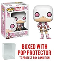 Funko POP! Marvel GwenPool 剣付きビニールフィギュア POPボックスプロテクターケース付きバンドル