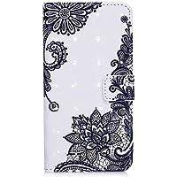 iPhone 7 Plus 手帳 ケース、iPhone 8 Plus ケース、PUレザーケース磁気ウォレットケースカバー、かわいいケース、ギフトスタイラス- 斜めの花