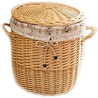 WTL かご?バスケット 大きな覆われた収納バスケットラタン嫌いウィービングボックス汚れた服ウィッカー汚れた衣類の収納バスケット (色 : B)
