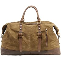Canvas Duffle Bag P.KU.VDSL Canvas PU Leather Weekender Overnight Tote Bag Oversized Travel Handbag Duffels for Men Women