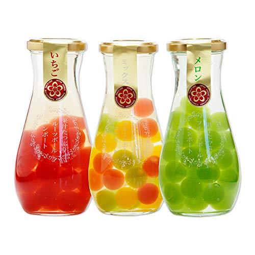 ふみこ農園 果汁たっぷり!フルーツゼリーボールコンポート3本セット(いちご、ミックス、メロン)内祝 プチギフト 子供<10591>